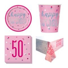 Pink Glitz 50th Birthday 8 Person Value Party Pack