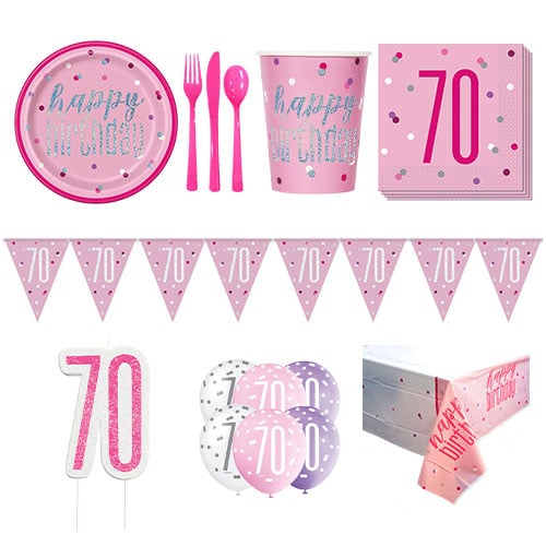 Pink Glitz 70th Birthday 8 Person Deluxe Party Pack