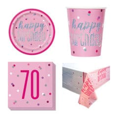 Pink Glitz 70th Birthday 8 Person Value Party Pack