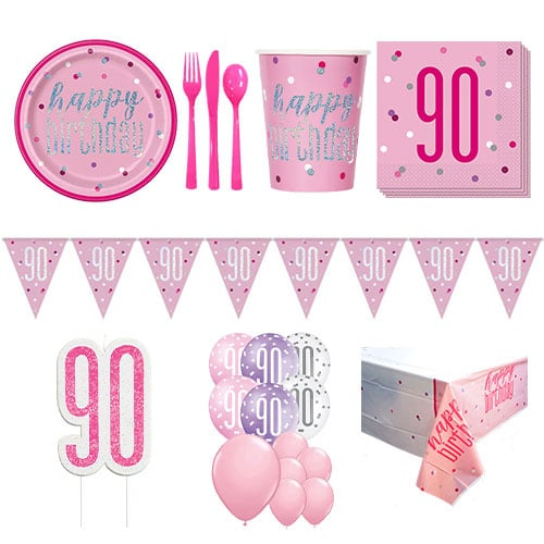 Pink Glitz 90th Birthday 16 Person Deluxe Party Pack