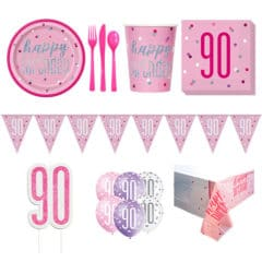Pink Glitz 90th Birthday 8 Person Deluxe Party Pack