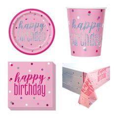 Pink Glitz Happy Birthday 8 Person Value Party Pack