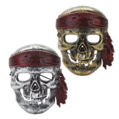 Pirate Assorted Metallic Plastic Face Mask 21cm