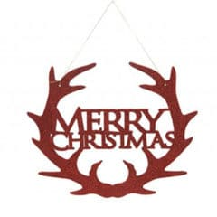 Red Glitter Merry Christmas Hanging Decoration 30cm