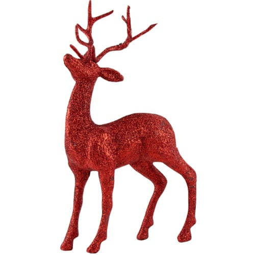 Red Glittered Stag Christmas Decoration 26cm