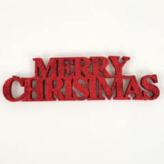 Red Merry Christmas Glitter Sign Decoration Table Centrepiece 32cm