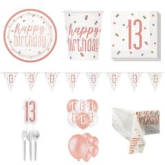 Rose Gold Glitz 13th Birthday 16 Person Deluxe Party Pack