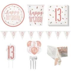 Rose Gold Glitz 13th Birthday 8 Person Deluxe Party Pack
