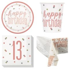 Rose Gold Glitz 13th Birthday 8 Person Value Party Pack