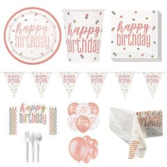 Rose Gold Glitz Happy Birthday 16 Person Deluxe Party Pack