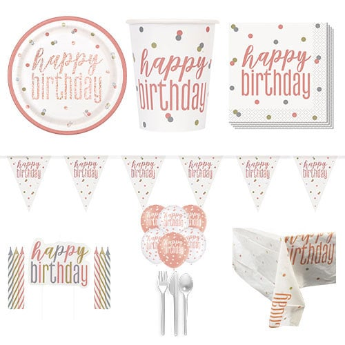Rose Gold Glitz Happy Birthday 8 Person Deluxe Party Pack