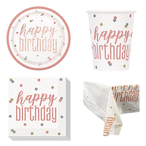 Rose Gold Glitz Happy Birthday 8 Person Value Party Pack