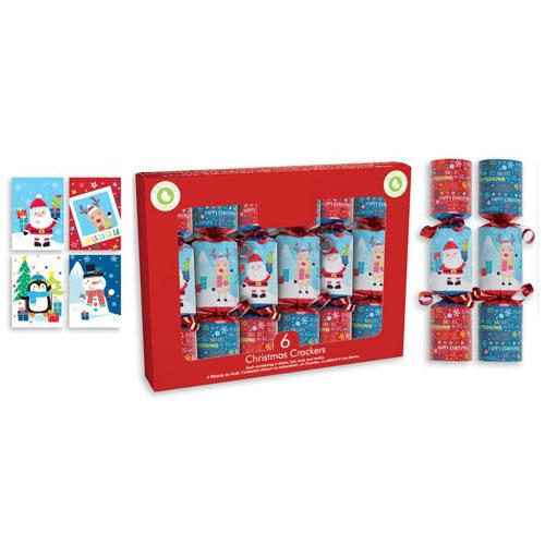 Santa & Friends Christmas Crackers 15cm / 6 in - Pack of 6