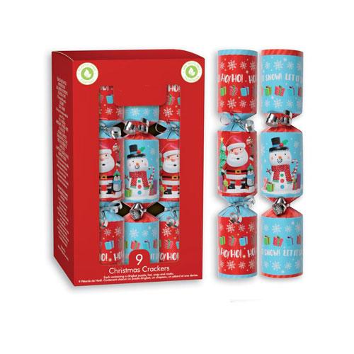 Santa & Snowman Christmas Crackers 20cm / 8 in - Pack of 9
