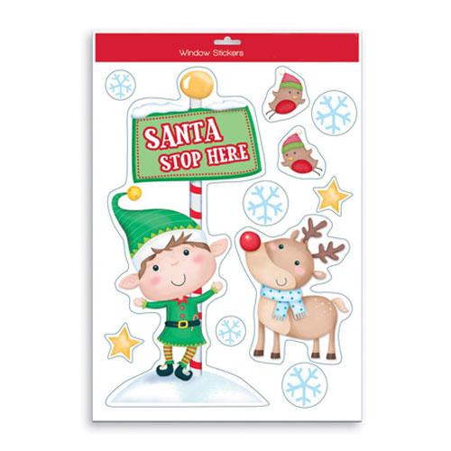Santa Stop Here Stickers Window Decorations