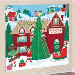 Santa's Workshop Scene Setter Add-On Wall Decorating Kit Christmas Backdrop