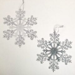 Glitter Assorted & Clear Acrylic Christmas Snowflake Hanging Decoration 26cm