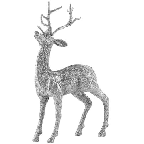 Silver Glittered Stag Christmas Decoration 26cm
