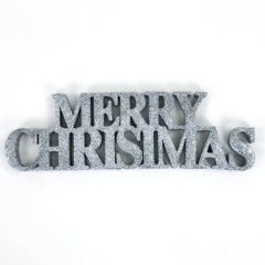 Silver Merry Christmas Glitter Sign Decoration Table Centrepiece 32cm