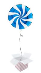 White & Blue Candy Swirl Round Foil Helium Balloon - Inflated Balloon in a Box