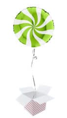 White & Lime Green Candy Swirl Round Foil Helium Balloon - Inflated Balloon in a Box