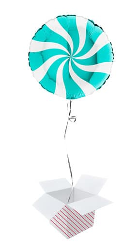 White & Tiffany Blue Candy Swirl Round Foil Helium Balloon - Inflated Balloon in a Box