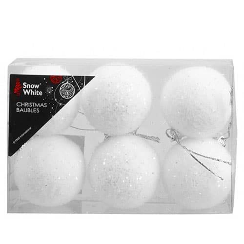 White Flock Baubles Christmas Tree Decorations 5cm - Pack of 6