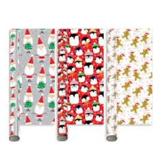 Assorted Metallic Novelty Christmas Gift Wrapping Paper 2m - Pack of 3