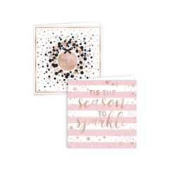 Assorted Metallic Rose Gold Celebrate Christmas Cards with Envelopes 15cm - Pack of 12