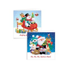 Assorted Santa & Friends Glitter Christmas Cards with Envelopes 15cm - Pack of 12