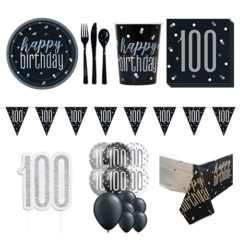 Black Glitz 100th Birthday 16 Person Deluxe Party Pack