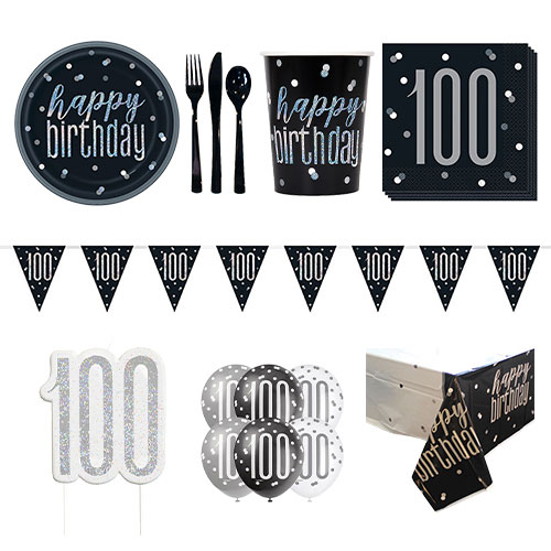 Black Glitz 100th Birthday 8 Person Deluxe Party Pack