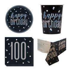 Black Glitz 100th Birthday 8 Person Value Party Pack