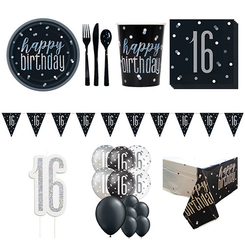 Black Glitz 16th Birthday 16 Person Deluxe Party Pack