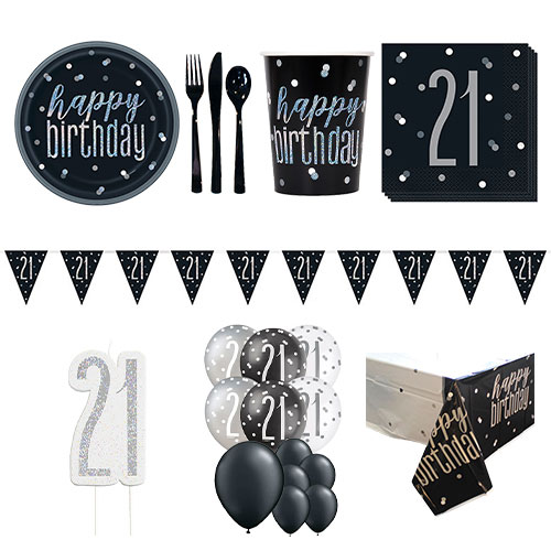 Black Glitz 21st Birthday 16 Person Deluxe Party Pack