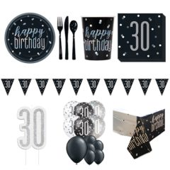 Black Glitz 30th Birthday 16 Person Deluxe Party Pack