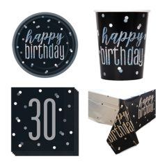 Black Glitz 30th Birthday 8 Person Value Party Pack