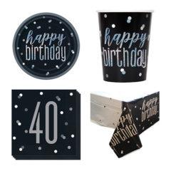 Black Glitz 40th Birthday 8 Person Value Party Pack