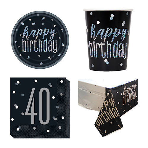 Black Glitz 40th Birthday 8 Person Value Party Pack