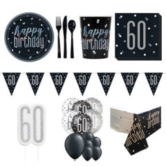 Black Glitz 60th Birthday 16 Person Deluxe Party Pack