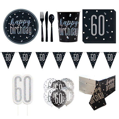 Black Glitz 60th Birthday 8 Person Deluxe Party Pack