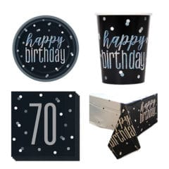 Black Glitz 70th Birthday 8 Person Value Party Pack