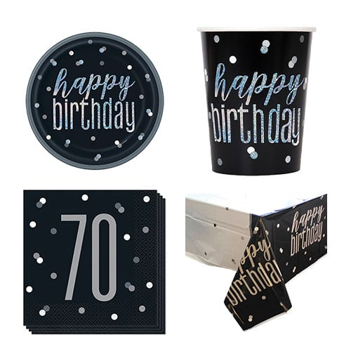 Black Glitz 70th Birthday 8 Person Value Party Pack