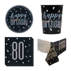 Black Glitz 80th Birthday 8 Person Value Party Pack