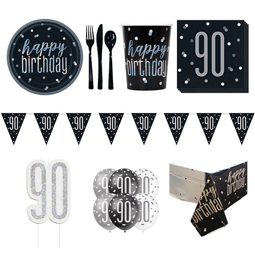 Black Glitz 90th Birthday 8 Person Deluxe Party Pack