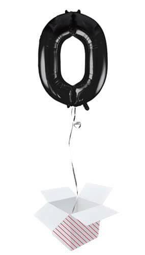 Black Number 0 Helium Foil Giant Balloon - Inflated Balloon in a Box