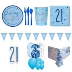 Blue Glitz 21st Birthday 16 Person Deluxe Party Pack