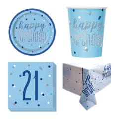 Blue Glitz 21st Birthday 8 Person Value Party Pack