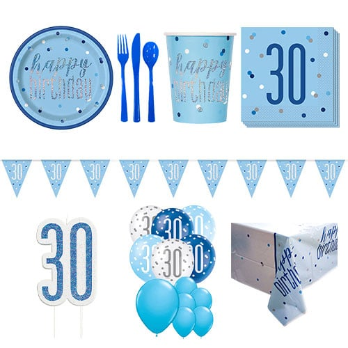Blue Glitz 30th Birthday 16 Person Deluxe Party Pack