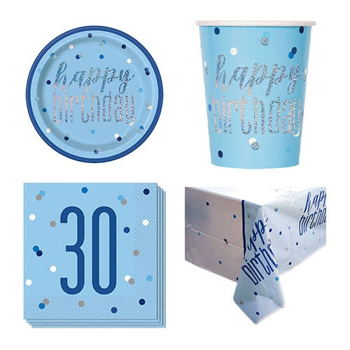 Blue Glitz 30th Birthday 8 Person Value Party Pack